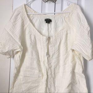 Off white cotton shirt sleeve XXL top